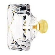 Lead Free German Crystal Rectangular Knob With Solid Brass Base (item #RS-08CCC-M997X)
