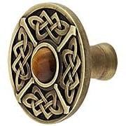 Celtic Jewel Knob Inset with Tiger Eye (item #RS-08NH-NHK-158-TEX)