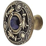 Jeweled Lily Cabinet Knob Inset with Blue Sodalite - 1 3/8