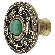 Jeweled Lily Cabinet Knob Inset with Green Aventurine - 1 3/8