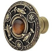 Jeweled Lily Cabinet Knob Inset with Tiger Eye - 1 3/8