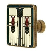 "Prairie Tulips Cabinet Knob With Enamel Inlay - 1 1/4"" Square (item #RS-08NH-NHK-ENML-117X)"