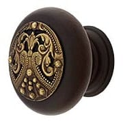 Hardwood Knob With Regal Crest Onlay - 1 1/2