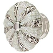 Round Decorative Cabinet Knob with Mother-of-Pearl - 1 3/8