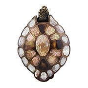 Turtle Drop Pull with Mother-of-Pearl Inlays - 3 3/8