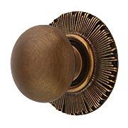 Smooth Cabinet Knob with Sunburst Back Plate - 1 1/4