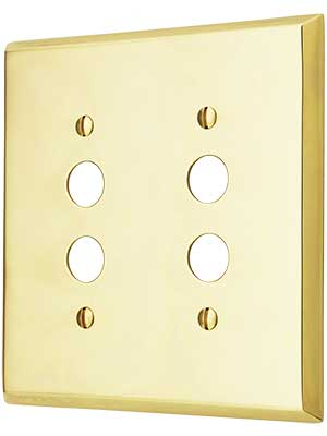 Traditional Double Gang Push Button Switch Plate in Forged Brass