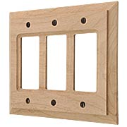 Alder Wood Unfinished Triple-GFI Switch Plate (item #R-010AMT-180RRR)