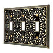 Filigree Triple-Toggle Switch Plate (item #R-010AMT-65TTTX)