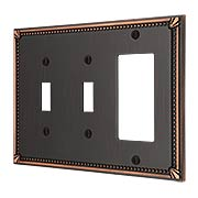 Imperial Bead Double Toggle/GFI Combination Switch Plate (item #R-010AMT-74TTRX)