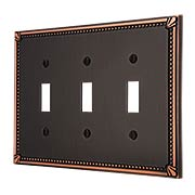 Imperial Bead Triple Toggle Switch Plate (item #R-010AMT-74TTTX)