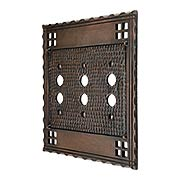 Arts and Crafts Triple Push Button Switch Plate In Oil-Rubbed Bronze (item #R-010CH-SWM3BAC)
