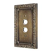 Floral Victorian Single Gang Push-Button Switch Plate in Antique-By-Hand (item #R-010II-421-ABH)