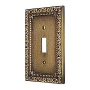 Floral Victorian Single Toggle Switch Plate in Antique-By-Hand (item #R-010II-422-ABH)