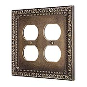 Floral Victorian Double Gang Duplex Outlet Cover Plate in Antique-By-Hand (item #R-010II-430-ABH)