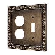 Floral Victorian Toggle/Duplex Combination Switch Plate in Antique-By-Hand (item #R-010II-431-ABH)