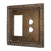 Floral Victorian Push Button/GFI Combination Switch Plate in Antique-By-Hand (item #R-010II-433-ABH)
