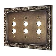 Floral Victorian Triple Gang Push-Button Switch Plate in Antique-By-Hand (item #R-010II-434-ABH)