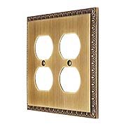 Egg & Dart Design Double Duplex Outlet Cover In Antique-By-Hand Finish (item #R-010II-EAD-2D-ABH)