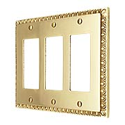 Egg & Dart Design Triple GFI Cover In Solid Brass (item #R-010II-EAD-3G-PBX)