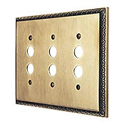 Egg & Dart Design Triple Push Button Light Switch Plate In Antique-By-Hand Finish (item #R-010II-EAD-3S-ABH)