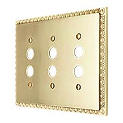 Egg & Dart Design Triple Push Button Switch Plate In Solid Brass (item #R-010II-EAD-3S-PBX)
