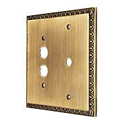 Egg & Dart Push Button/Dimmer Combination Switch Plate In Antique-By-Hand (item #R-010II-EAD-CS-ABH)