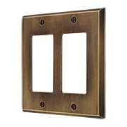 Traditional Forged Brass Double Gang GFI Cover Plate in Antique-by-Hand (item #R-010II-FBSP-2G-ABH)