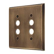 Traditional Forged Brass Double Gang Push Button Switch Plate in Antique-by-Hand (item #R-010II-FBSP-2S-ABH)