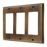 Traditional Forged Brass Triple Gang GFI Cover Plate in Antique-by-Hand (item #R-010II-FBSP-3G-ABH)