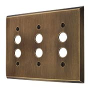 Traditional Forged Brass Triple Gang Push Button Switch Plate in Antique-by-Hand (item #R-010II-FBSP-3S-ABH)