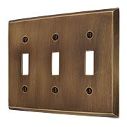 Traditional Forged Brass Triple Toggle Switch Plate in Antique-by-Hand (item #R-010II-FBSP-3T-ABH)