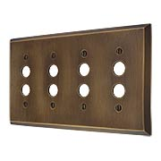Traditional Forged Brass Quad Gang Push Button Switch Plate in Antique-by-Hand (item #R-010II-FBSP-4S-ABH)