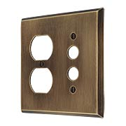 Traditional Forged Brass Push Button / Duplex Combination Switch Plate in Antique-by-Hand (item #R-010II-FBSP-DS-ABH)