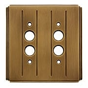 Streamline Deco Push Button Switch Plate - Double Gang in Antique-By-Hand (item #R-010II-SLSP-2S-ABH)