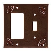 Pierced Country Tin GFI/Toggle Combo Plate (item #R-010IW-789SRX)