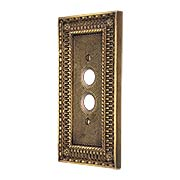 Pisano Single Gang Push-Button Switch Plate In Antique-By-Hand (item #R-010MG-167-ABH)