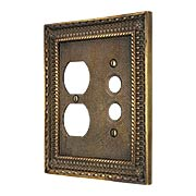 Pisano Push-Button / Duplex Combination Switch Plate In Antique-By-Hand (item #R-010MG-179-ABH)