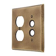 Distressed Bronze Push-Button/Duplex Combination Switch Plate (item #R-010MG-261)