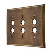Distressed Bronze Triple Push-Button Switch Plate (item #R-010MG-263)
