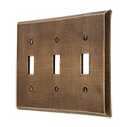 Distressed Bronze Triple-Toggle Switch Plate (item #R-010MG-264)