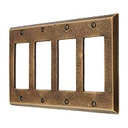 Distressed Bronze Quad-GFI Cover Plate (item #R-010MG-268)