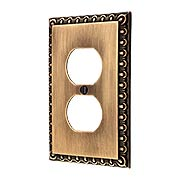 Ovolo Single Duplex Outlet Cover Plate in Antique-By-Hand (item #R-010MG-404-ABH)