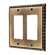 Ovolo Double Gang GFI Cover Plate in Antique-By-Hand (item #R-010MG-409-ABH)