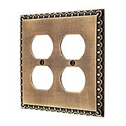 Ovolo Double Gang Duplex Outlet Cover Plate in Antique-By-Hand (item #R-010MG-410-ABH)