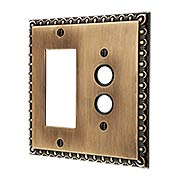Ovolo Push-Button/GFI Combination Switch Plate in Antique-By-Hand (item #R-010MG-413-ABH)