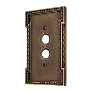 Neoclassical Single Gang Push Button Switch Plate in Antique-By-Hand (item #R-010MG-446-ABH)