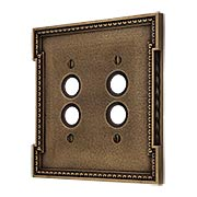 Neoclassical Double Gang Push Button Switch Plate in Antique-By-Hand (item #R-010MG-452-ABH)