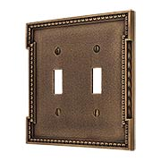 Neoclassical Double Gang Toggle Switch Plate in Antique-By-Hand (item #R-010MG-453-ABH)
