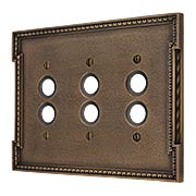 Neoclassical Triple Gang Push Button Switch Plate in Antique-By-Hand (item #R-010MG-460-ABH)